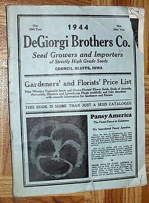 DeGiorgi Brothers 1944 Seed Catalog Council Bluffs Iowa Flowers Vegetables Book