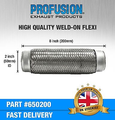 """Weld On 2"""" X 8"""" inch Exhaust Flexible Joint Repair Flexi Pipe tube Flex"""
