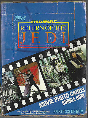 1983 Star Wars WAX Box 36 Unopened Packs Return of the JEDI Series 1 Cards Topps
