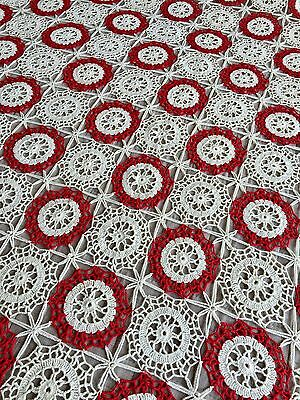 ANTIQUE VINTAGE 1920's Crochet Lace Handmade Bed Cover Tablecloth Red & Cream