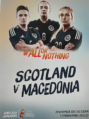 Scotland v Macedonia Women Uefa Euro 2017 Qualifier VERY RARE Mint condition.