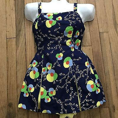 Gabar Vtg 50's Look Floral Cotton Pin Up Rockabilly Bathing Suit Romper M Medium