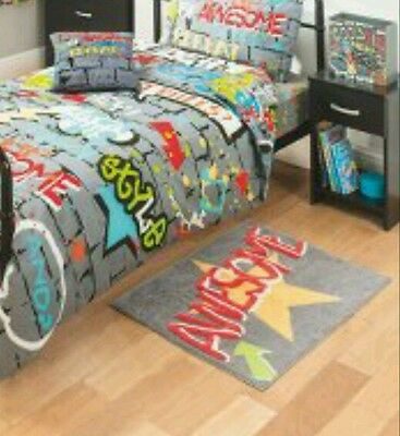 KIDS Graffiti Awesome grey bedroom rug 100% cotton..slogan print Awesome GR8 RUG