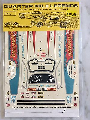 1/24 Gordie Bonin Hawaiian  Funny Car Decals By QML NHRA F/C