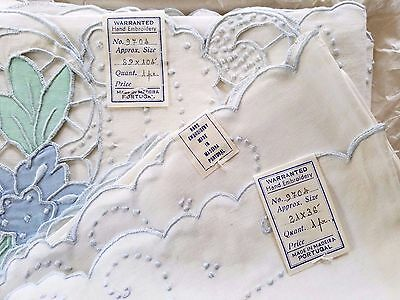 Vintage Antique MADEIRA Embroidered COLOR Cutwork Sheet Pillowcase Set ~ NEW NWT
