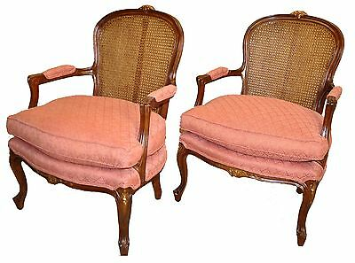 Elegant Pair of French Louis XV Style Carved & Caned Bergere Chairs