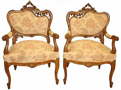 Antique Pair French Walnut Louis XV Style Heavily Carved Bergere Armchairs 19th