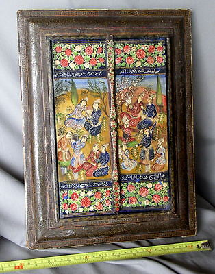 Antique Qajar Persian Mirror Hand Painted Original Glass lacquered inlaid Iran