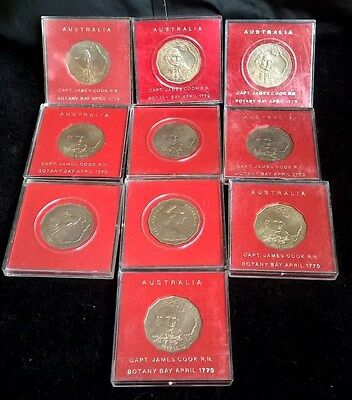 1970 Fifty Cents X 10 -*captain Cook* *in Official Cases* - In Specimen Bu