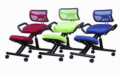 Ergonomically Knee Chair with Back/Handle Mesh Fabric Office Kneeling Chair