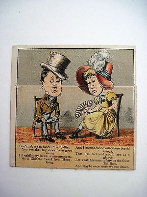 """1884 Metamorphic Trade Card for """"Solar Tip Shoes""""  w/ Dancing Couple  *"""