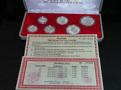 S-86: Singapore Proof Set. Sterling Silver, 1985, c/w Certs, plastic case. 17565