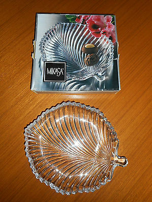 Vintage Mikasa Diamond Fire clear glass leaf plate dish platter sweets nuts box