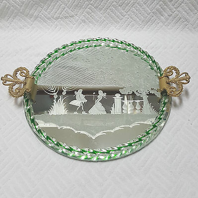 Vintage Serving Tray Murano Venetian Art Deco Mirrored Glass Rope