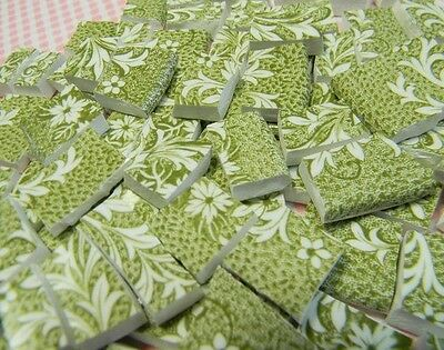 China Mosaic Tiles ~ AnTiQuE ENGLiSH MoSSY GReEN ~ Vintage Broken Plate Tiles
