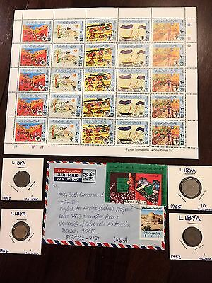 Libya Stamps! cover Coins! Tripoli Africa Arabic Benghazi Green Book Italy