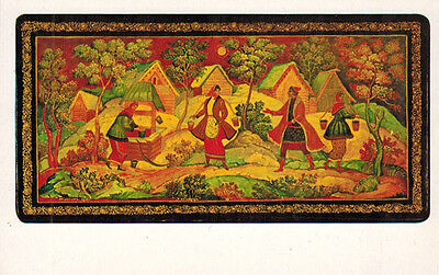 1982 Russian CARD Repro of miniature box AT THE WELL by Mstera artist