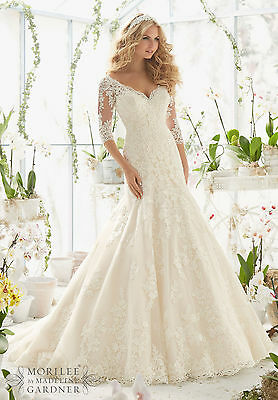 Brand New Mori Lee Alencon Lace Net Bridal Gown Style 2812 free shipping