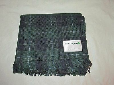 vintage AER LINGUS IRISH AIRLINE blanket plaid travel throw WATCHTOWER tartan