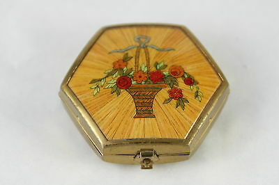 Vtg Houbigant Trio Compact Basket of Flowers Powder Rouge France