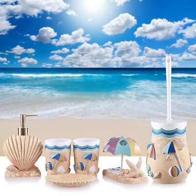 Set of 5 Sea Style Bathroom Accessories Shell Bottle Soap Dish Cup Toothbrush