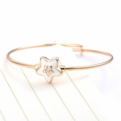 Popular  Baby Girls 18K Gold Filled Cz Adjustable White Enamel Star  Bangle
