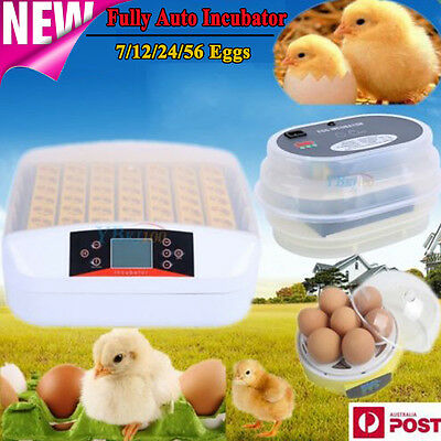 7/12/24/56 Egg Incubator Fully Automatic Digital LED Turner Poultry Chicken Duck
