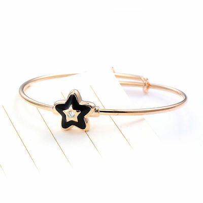 Cute  Baby Toddlergirls 18K Gold Filled Cz Adjustable Black Enamel Star  Bangle