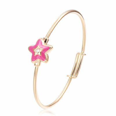 Baby/toddler/girls 18K Gold Filled Cz Adjustable Hot Pink  Enamel Star  Bangle