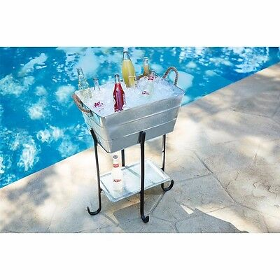 Galvanized Beverage Tub Stand Party Metal Ice Drink Cooler Home rolling