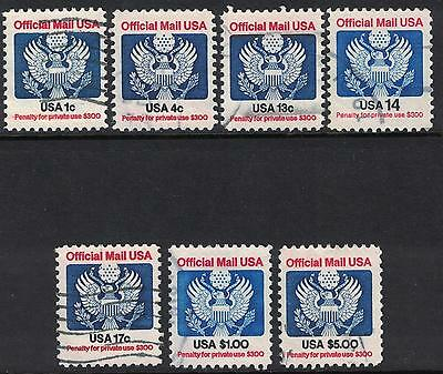 Scott O127-O133, Postally Used- Set of 7, 1c-$5 Official Mail Stamps- 1983-85