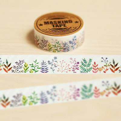 Herbaceous Plant Washi Tape Masking Adhesive DIY Decoration Scrapbooking Planner