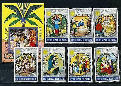 Equatorial Guinea 1974 Christmas Paintings Set Of 7 Stamps & S/s Mnh