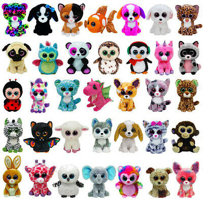 15cm Plush Ty Beanie Boos Dolls Big Eyes Cat Dog Panda Owl Stuffed Soft Kids Toy