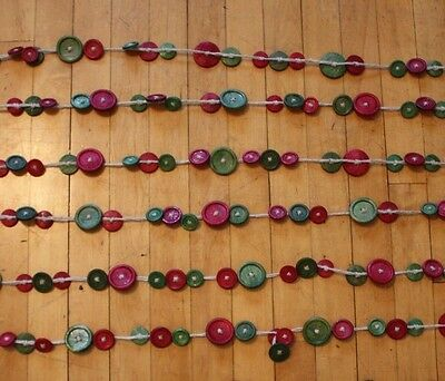 """Lot 4 x 76"""" Strands Wood Button Garland Country Primitive Christmas  Tree Decor"""