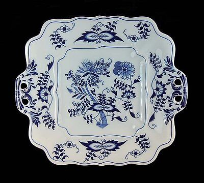 "Blue Danube Blue Onion Square Cookie Plate Serving Tray Handles 10"" Minty!"