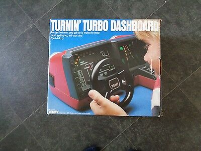 1980s TOMY TURNIN' TURBO DASHBOARD Racing Car Driving Game Complete BOXED RARE