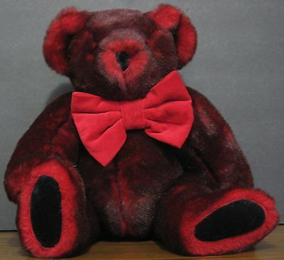 """Vermont Teddy Bear Company Plush 2 Tone Maroon Jointed Bear In Bowtie - 16"""" Tall"""