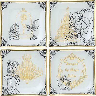 Disney Belle Beauty and the Beast Glass Plat Set of 4 with box JAPAN NEW MAEHATA
