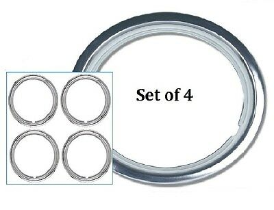 """Wheel Trim Ring 14"""" Set of 4 Chrome Plated Metal Band Dress Ring Suit Steel Rims"""