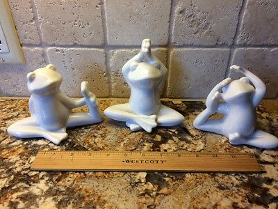 Set of 3 Yoga Frogs in Poses White Ceramic