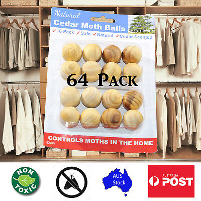64 Natural Wardrobe Clothing Cedar Wood Moth Balls CedarWood Chips Bug Repellant