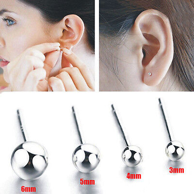 1 Pairs Genuine Fashion Silver Ball Bead Studs Earrings Round Stud Earrings