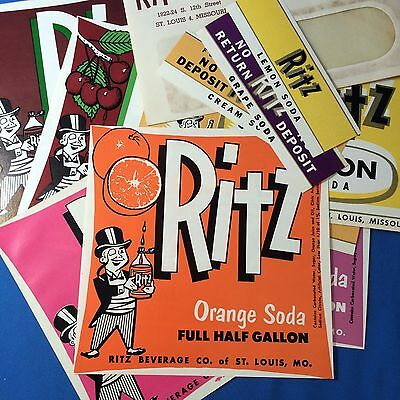 10 Original Vintage Orange Cream RITZ SODA Bottle LABEL Envelope St. Louis MO