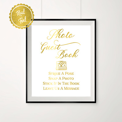 Photo guest book, gold wedding, gold signs, guest book sign, polaroid guestbook