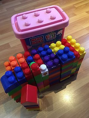 Huge tub box MEGA BLOKS building blocks toy baby kids USED bulk a lot 160 Pieces