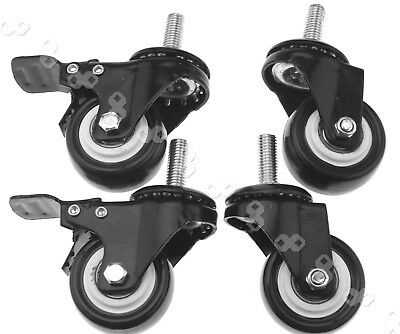 "4PCS 2"" 50mm PU Swivel with Brake Castor Wheel w/ Screw Trolley Furniture Caster"