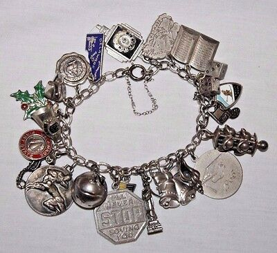Vintage Sterling Silver Charm Bracelet with 23 Fantastic Charms