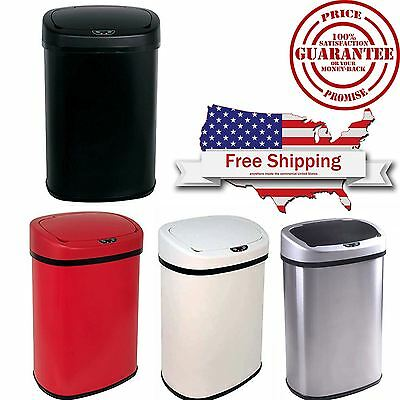 13-Gallon Touch-Free Sensor Automatic Stainless-Steel Trash Can Multi-Colors New
