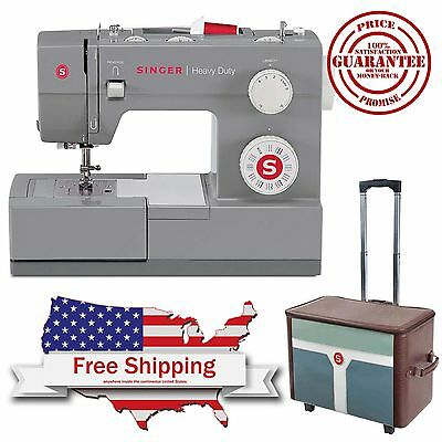Singer Sewing Machine Heavy Duty Industrial Stitch Leather Portable + Roller Bag